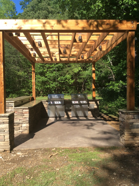 Community Outdoor Kitchen and Grill with Lights