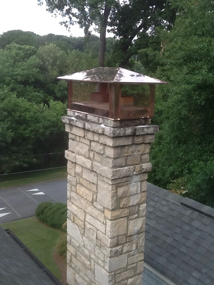 Custom Hip-Style Copper Chimney Cap