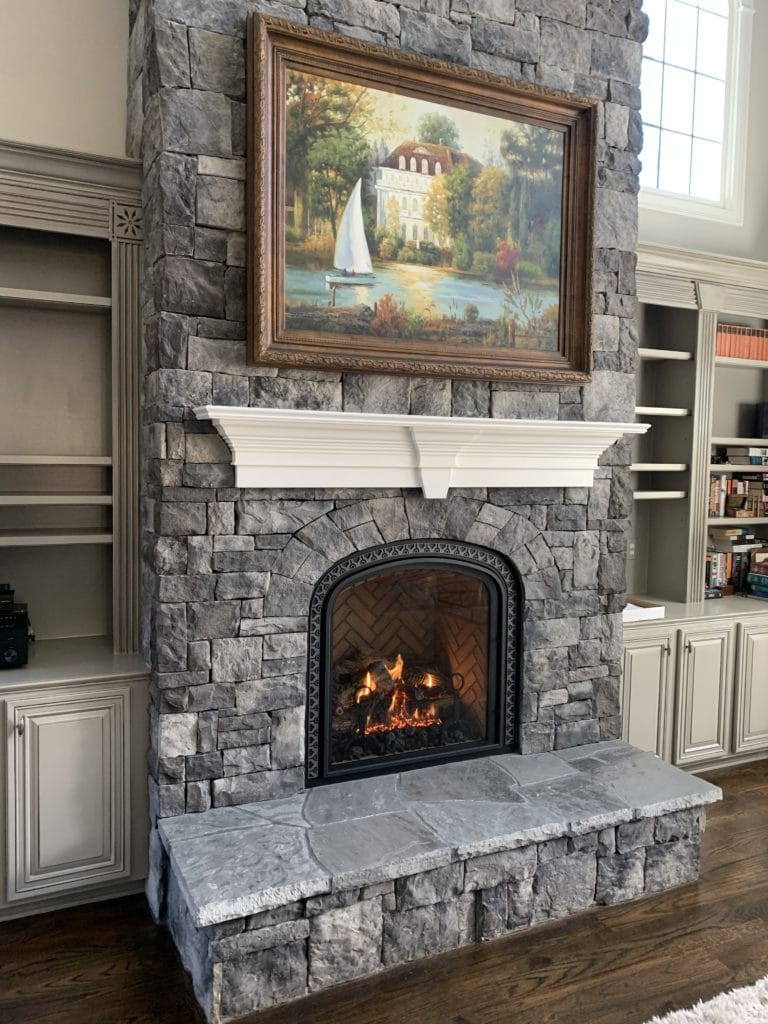 new fireplace indoors